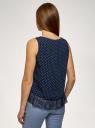 Топ с кружевной отделкой по низу oodji для женщины (синий), 14911012/43414/7912D