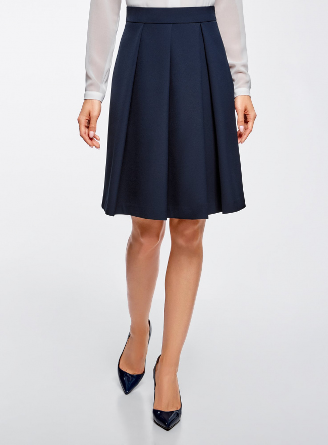 Юбка расклешенная со встречными складками oodji для женщины (синий), 11600443/45559/7900N
