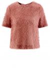 Блузка ворсистая с вырезом-капелькой на спине oodji #SECTION_NAME# (розовый), 14701049/46105/4A00N
