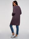 Кардиган прямого силуэта без застежки oodji #SECTION_NAME# (фиолетовый), 63205254/48849/8800M - вид 3