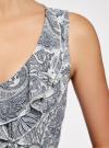 Платье трикотажное комбинированное oodji #SECTION_NAME# (синий), 14005124-1/42376/7912E - вид 5