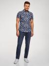 Рубашка принтованная с коротким рукавом oodji #SECTION_NAME# (синий), 3L410128M/48244N/7910F - вид 6