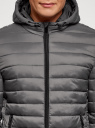 Куртка стеганая с капюшоном oodji #SECTION_NAME# (серый), 1B112009M/25278N/2300N - вид 4