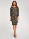 Платье трикотажное с вырезом-капелькой на спине oodji #SECTION_NAME# (зеленый), 24001070-5/15640/6641F - вид 2