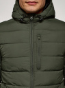 Куртка стеганая с капюшоном oodji #SECTION_NAME# (зеленый), 1B112027M/33743/6600N - вид 4