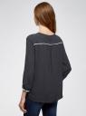 Блузка прямая с декоративной отделкой на груди oodji #SECTION_NAME# (синий), 11411147/36215/7900N - вид 3