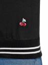 Свитшот хлопковый с принтом и вышивкой oodji #SECTION_NAME# (черный), 14807021-11/46919/2919P - вид 5