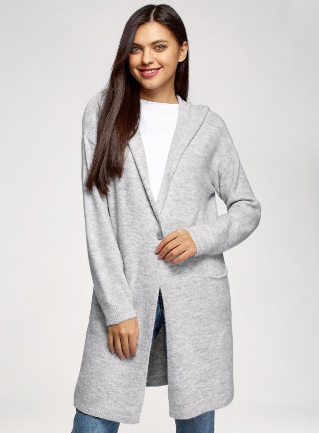 Кардиган с карманами и капюшоном oodji для женщины (серый), 63207207/50290/2300M