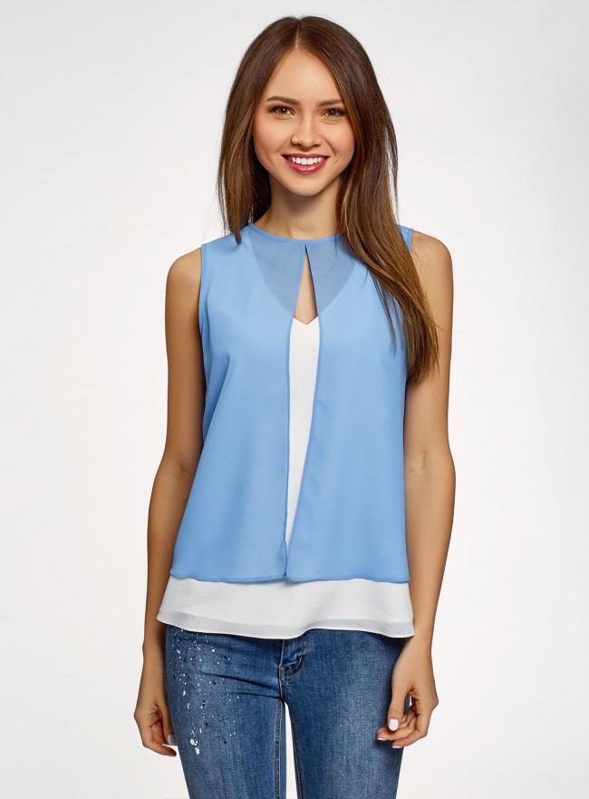 Блузка двуцветная многослойная oodji #SECTION_NAME# (синий), 14901418/26546/1202B