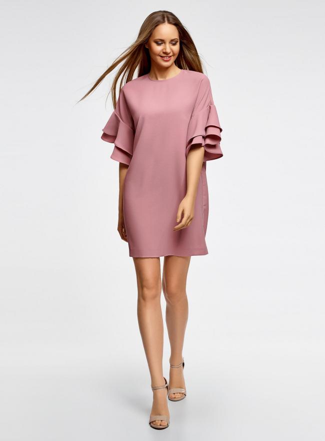 Платье свободного силуэта с воланами на рукавах oodji для женщины (розовый), 12C00005/42710/4A00N