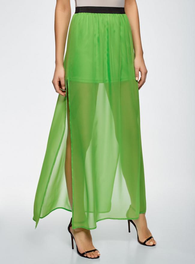 Юбка макси из струящейся ткани oodji #SECTION_NAME# (зеленый), 13G00002-4B/42816/6A00N