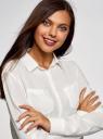 Блузка с нагрудными карманами и регулировкой длины рукава oodji #SECTION_NAME# (белый), 11400355-8B/48458/1200N - вид 4