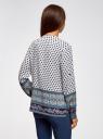 Блузка прямого силуэта с V-образным вырезом oodji #SECTION_NAME# (разноцветный), 21400394-3/24681/1279E - вид 3