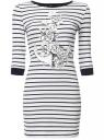 Платье трикотажное с рукавом 3/4 oodji для женщины (белый), 14001071-4/24568/1079P