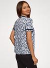 Блузка из струящейся ткани с контрастной отделкой oodji #SECTION_NAME# (синий), 11401272-1/36215/7029F - вид 3