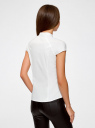 Рубашка с коротким рукавом из хлопка oodji для женщины (белый), 11403196-1/18193/1200N