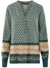 Блузка прямого силуэта с V-образным вырезом oodji #SECTION_NAME# (зеленый), 21400394-3/24681/6957E