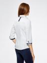 Рубашка хлопковая с рукавом 3/4 oodji для женщины (белый), 11403201-2/26357/1000N