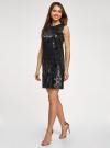 Платье с пайетками и принтом из флока oodji для женщины (черный), 24005135/46121/2929F - вид 6