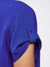 Блузка с короткими рукавами и карманами на пуговицах oodji #SECTION_NAME# (синий), 11400391-2B/24681/7500N - вид 5