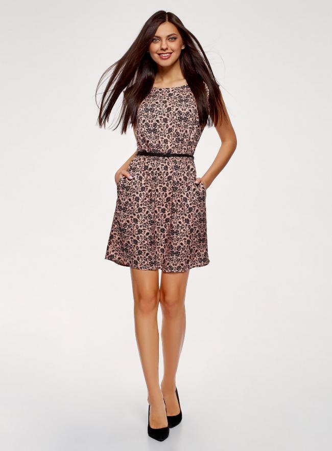 Платье принтованное из вискозы oodji для женщины (розовый), 11910073-2/45470/4B29F