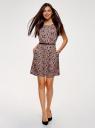 Платье принтованное из вискозы oodji #SECTION_NAME# (розовый), 11910073-2/45470/4B29F - вид 2