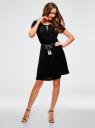 Платье с вырезом-капелькой и поясом на резинке oodji #SECTION_NAME# (черный), 11913043/46633/2900N - вид 2