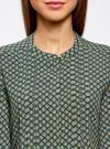 Блузка вискозная с отстрочками на груди oodji #SECTION_NAME# (зеленый), 21411121/47075N/6D12E - вид 4