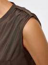 Блузка без рукавов с металлическими кнопками oodji #SECTION_NAME# (коричневый), 21412131/35251/3700N - вид 5