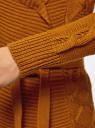 "Кардиган вязаный ""в косичку"" с поясом oodji #SECTION_NAME# (коричневый), 63205138-7/31347/5700N - вид 5"
