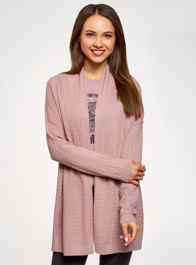"Кардиган ""в косичку"" без застежки oodji для женщины (розовый), 73212383-2B/46139/4A00N"