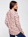 Блузка вискозная прямого силуэта oodji #SECTION_NAME# (розовый), 11411098-3/24681/4029O - вид 3