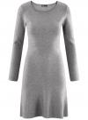 Платье вязаное с расклешенным низом oodji для женщины (серый), 63912223/46096/2500M