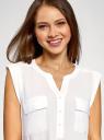 Блузка с короткими рукавами и нагрудными карманами oodji #SECTION_NAME# (белый), 21412132-2B/24681/1200N - вид 4