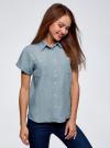 Рубашка из лиоцелла с нагрудными карманами oodji #SECTION_NAME# (синий), 16A09004/45490/7000W - вид 2