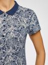 Поло принтованное из ткани пике oodji #SECTION_NAME# (синий), 19301007/46691/7912L - вид 5