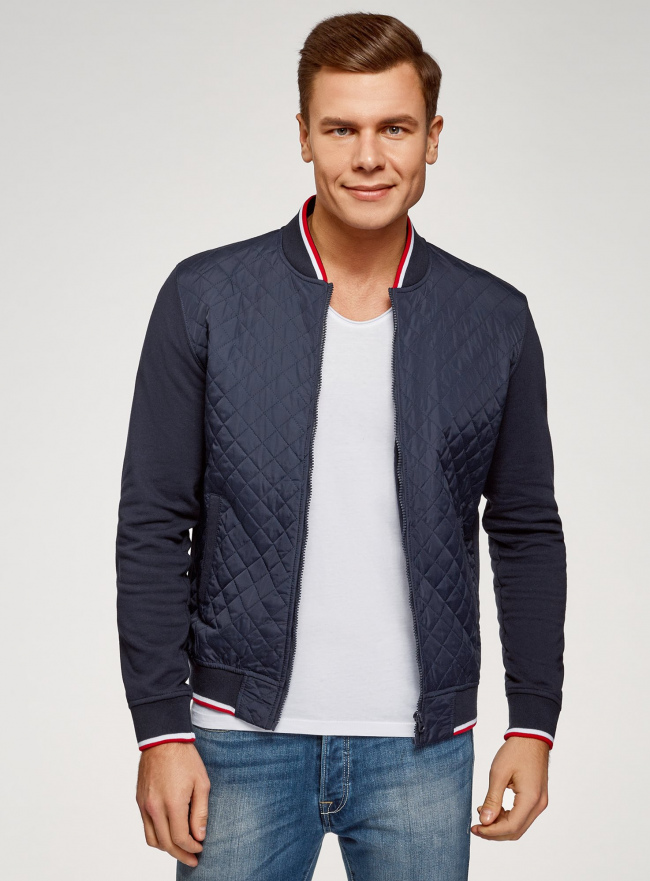 Куртка-бомбер с воротником-стойкой oodji #SECTION_NAME# (синий), 5L911045M/44111N/7900N