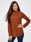 Блузка базовая из вискозы с карманами oodji #SECTION_NAME# (коричневый), 11400355-4/26346/3900N - вид 2