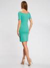 Платье трикотажное с вырезом-лодочкой oodji #SECTION_NAME# (зеленый), 14007026-1/37809/6D00N - вид 3