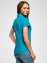 Рубашка базовая с коротким рукавом oodji #SECTION_NAME# (бирюзовый), 11402084-5B/45510/7300N - вид 3