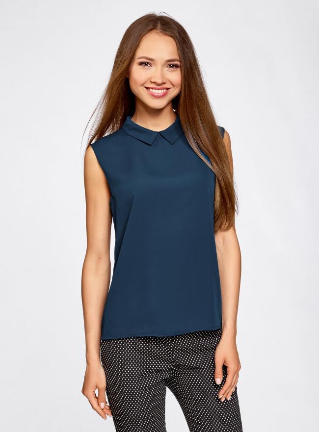 Блузка базовая без рукавов с воротником oodji для женщины (синий), 11411084B/43414/7900N