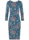 Платье трикотажное с вырезом-капелькой на спине oodji #SECTION_NAME# (синий), 24001070-5/15640/7630F