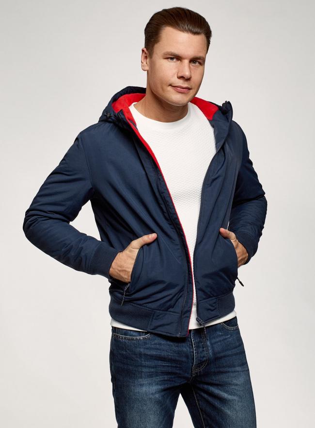 Куртка-бомбер с капюшоном oodji для мужчины (синий), 1L512023M/50165N/7900N