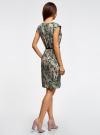 Платье трикотажное с ремнем oodji #SECTION_NAME# (зеленый), 24008033-2/16300/6243F - вид 3