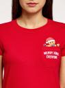 Футболка хлопковая с карманом на груди oodji #SECTION_NAME# (красный), 14701078-6/48369/4519P - вид 4