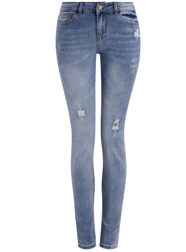 Джинсы skinny с модными потертостями oodji для женщины (синий), 12103140/45869/7000W