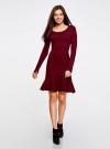 Платье вязаное с расклешенным низом oodji для женщины (красный), 63912223/46096/4900N - вид 2