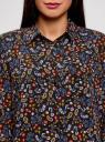 Блузка с нагрудными карманами и регулировкой длины рукава oodji #SECTION_NAME# (черный), 11400355-8B/48458/2919F - вид 4