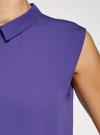Блузка базовая без рукавов с воротником oodji #SECTION_NAME# (фиолетовый), 11411084B/43414/8300N - вид 5