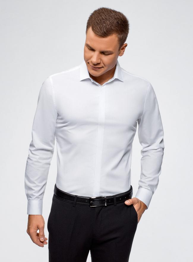Рубашка базовая хлопковая oodji для мужчины (белый), 3B110017M-2/48420N/1000N